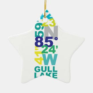 Ornement Étoile En Céramique Lac gull, coordonnées de MI - l'eau