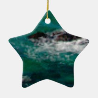 Ornement Étoile En Céramique lagune avec des roches