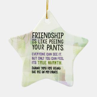 Ornement Étoile En Céramique L'amitié est comme faire pipi votre pantalon