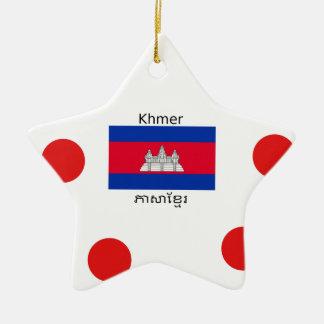 Ornement Étoile En Céramique Langue de Khmer et conception de drapeau de