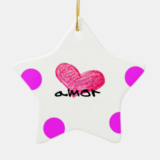 Ornement Étoile En Céramique Langue portugaise de conception d'amour