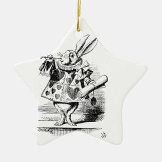 Ornement Étoile En Céramique Lapin blanc