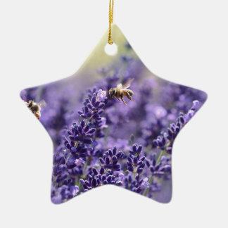 Ornement Étoile En Céramique Lavande de ressort avec floral pourpre d'abeilles