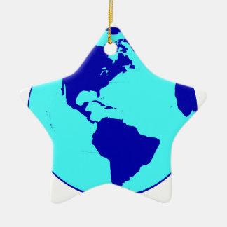 Ornement Étoile En Céramique Le globe des Amériques