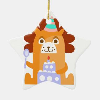 Ornement Étoile En Céramique Le lion avec la partie attribue génial stylisé