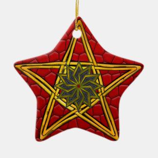 Ornement Étoile En Céramique Le pentagone étoilé - or, rouge et pourpre -