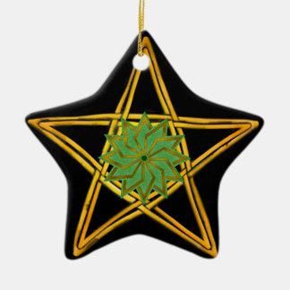 Ornement Étoile En Céramique Le pentagone étoilé - or, vert, et noir - double a