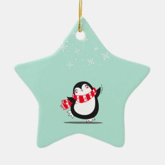 Ornement Étoile En Céramique Le pingouin mignon
