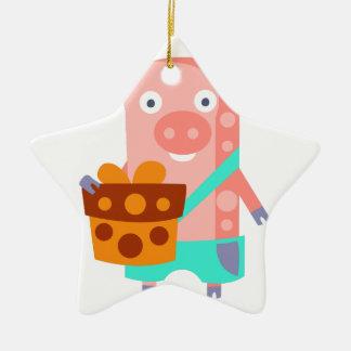 Ornement Étoile En Céramique Le porc avec la partie attribue génial stylisé