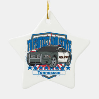 Ornement Étoile En Céramique Le Tennessee pour protéger et servir la voiture de