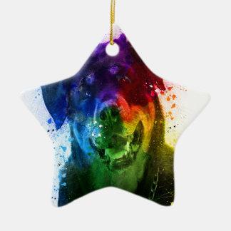 Ornement Étoile En Céramique Les couleurs de l'amour sont un rottweiler