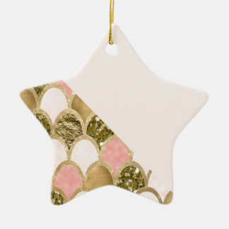 Ornement Étoile En Céramique Les échelles roses de sirène d'or et rougissent