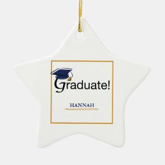 Ornement Étoile En Céramique Les félicitations reçoivent un diplôme, casquette,