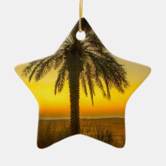 Ornement Étoile En Céramique Lever de soleil de palmier