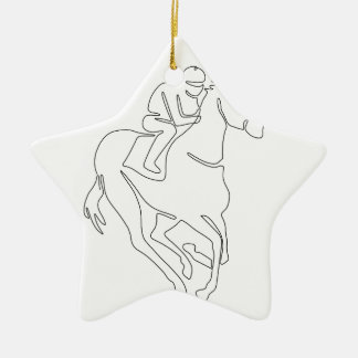 Ornement Étoile En Céramique Ligne continue de course de chevaux de jockey