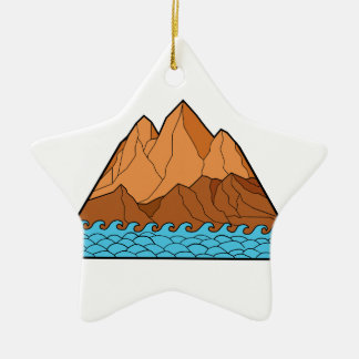 Ornement Étoile En Céramique Ligne mono en lambeaux de vagues de montagne