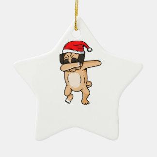 Ornement Étoile En Céramique Limande mignonne de chien avec le T-shirt de