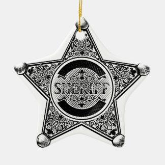 Ornement Étoile En Céramique L'insigne d'étoile de shérif a gravé à l'eau-forte