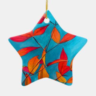 Ornement Étoile En Céramique L'orange laisse à automne l'art pour aquarelle