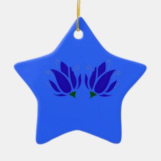 Ornement Étoile En Céramique Lotus bleus