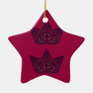 Ornement Étoile En Céramique Lotus sur le rouge