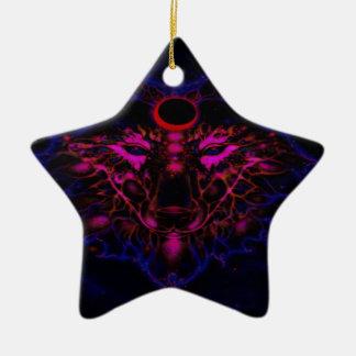 Ornement Étoile En Céramique Loup bleu au néon mythique
