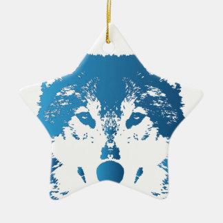 Ornement Étoile En Céramique Loup de bleu glacier d'illustration