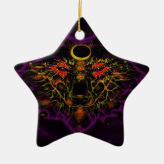 Ornement Étoile En Céramique Loup pourpre au néon mythique