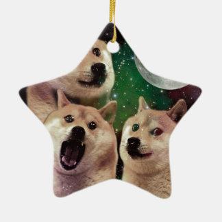 Ornement Étoile En Céramique Lune de doge - l'espace de doge - chien - doge -