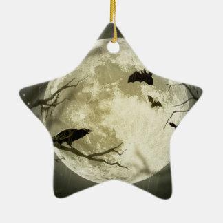 Ornement Étoile En Céramique Lune de Halloween - illustration de pleine lune