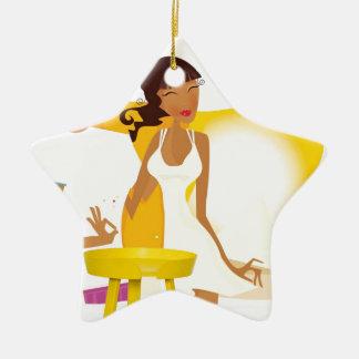 Ornement Étoile En Céramique Lune de miel d'été