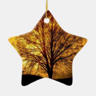 Ornement Étoile En Céramique lune-et arbre