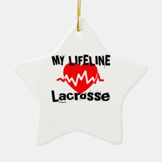 Ornement Étoile En Céramique Ma ligne de vie lacrosse folâtre des conceptions