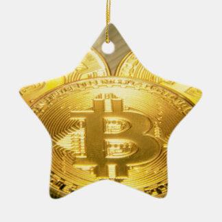 Ornement Étoile En Céramique Macro grand mojo rond de Bitcoins