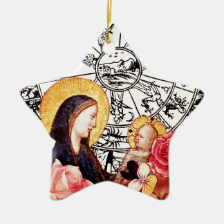 Ornement Étoile En Céramique madonna et enfant