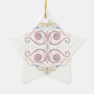 Ornement Étoile En Céramique Mandala de conception sur le blanc
