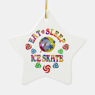 Ornement Étoile En Céramique Mangez le patin de glace de sommeil
