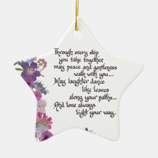 Ornement Étoile En Céramique Mariage ou cadeau de fiançailles