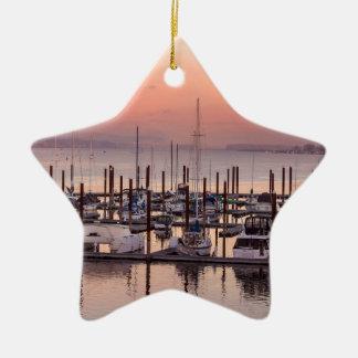 Ornement Étoile En Céramique Marina le long du fleuve Columbia au coucher du