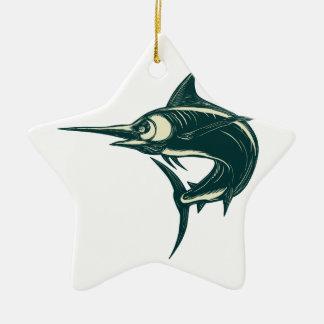 Ornement Étoile En Céramique Marlin bleu atlantique Scraperboard
