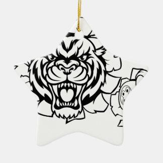 Ornement Étoile En Céramique Mascotte animale de Gamer d'Esports de tigre