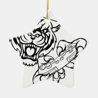 Ornement Étoile En Céramique Mascotte de Gamer de tigre
