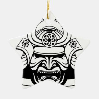 Ornement Étoile En Céramique Masque samouraï stylisé