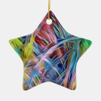Ornement Étoile En Céramique Mèches d'arc-en-ciel d'art abstrait de cheveux