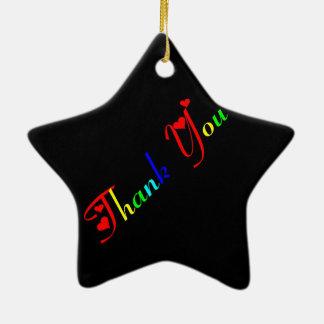 Ornement Étoile En Céramique Merci avec les coeurs rouges 0433