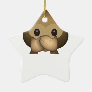 Ornement Étoile En Céramique Mignon ne parlez aucun singe mauvais Emoji