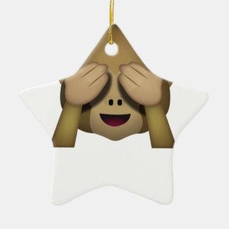 Ornement Étoile En Céramique Mignon ne voir l'aucun singe mauvais Emoji