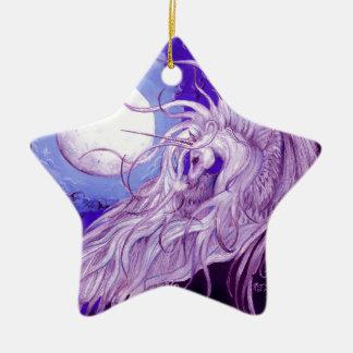 Ornement Étoile En Céramique Mignon pourpre magique de lune de licorne de noir