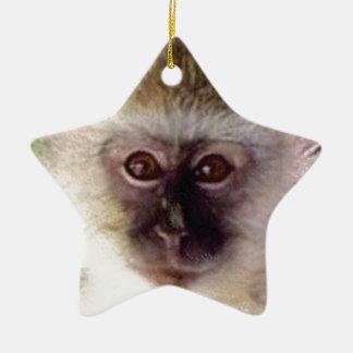 Ornement Étoile En Céramique mini tête de singe