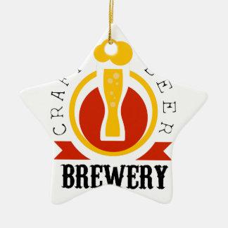 Ornement Étoile En Céramique Modèle de conception de logo de brasserie de bière